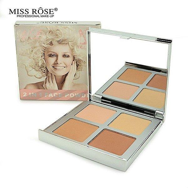 Paleta de Pó Compacto Miss Rôse Número 01 com 04 cores Matte