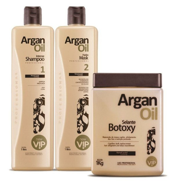 Escova Progressiva Argan Oil  (2 x 1 litro) + Botoxy  (950 gramas) - New Vip Cosméticos