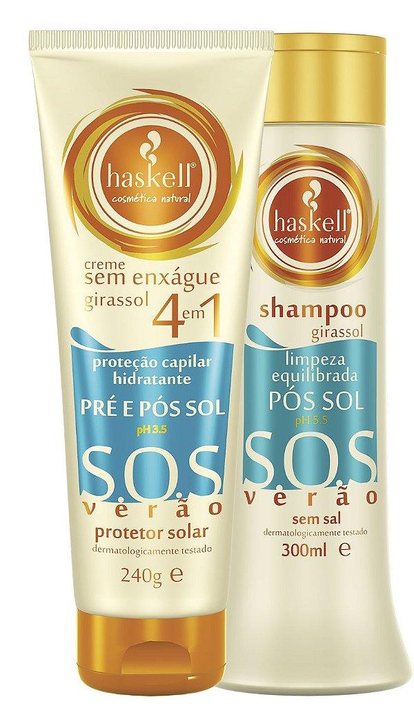 Shampoo 300ml Leave in 240g Pré e Pós Sol Girassol Haskell