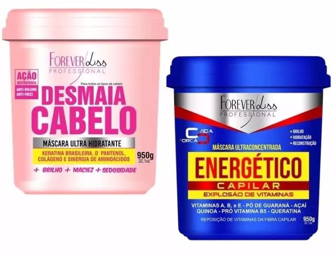 Desmaia Cabelo 950g + Energetico Capilar 950g Forever Liss