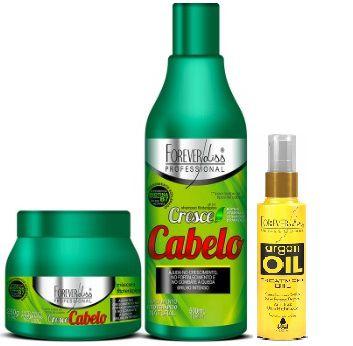 Kit Cresce Cabelo Forever liss + brinde Argan Oil