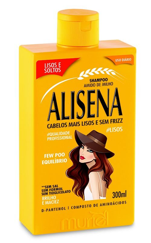 Shampoo Amido de Milho Alisena 300ml  - Muriel