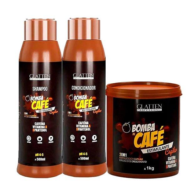 Glatten Bomba De Café Estimulante Kit Com Máscara 1kg