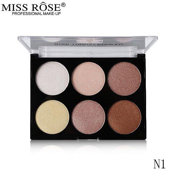 Miss Rose Glow Kit Paleta de Iluminador 6 cores 025 N1