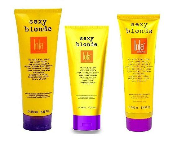 Kit Sexy Blonde Shampoo, Condicionador e Creme de Pentear 250ml - Lola Cosmetics