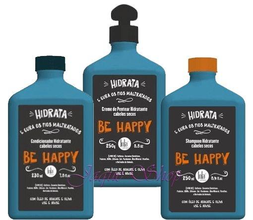 Lola Be Happy Ki Shampoo Hidratante, Condicionador Hidratante e Creme de Pentear Hidratante 250ml