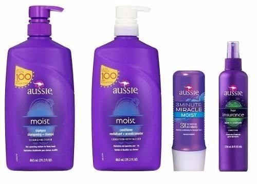 Mega combo Aussie 4 itens Shampoo e Condicionador 865ml + mascara moist e Leave-in