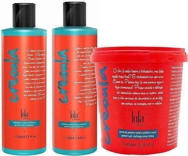 Kit Creoula 3 Itens Shampoo, Condicionador, Creme de pentear de 930g Lola Cosmetics