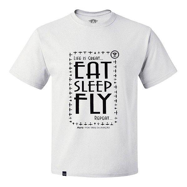 CAMISETA AERO - EAT SLEEP FLY BRANCA