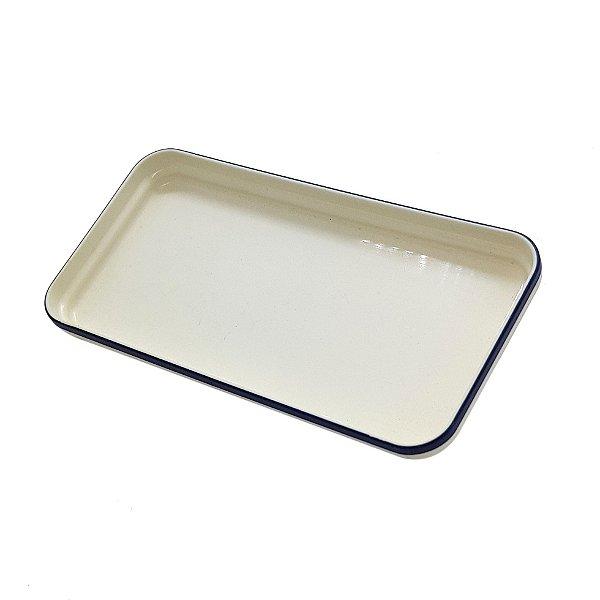 Prato Retângular de Plástico Azul e Branco com logo VASP no fundo