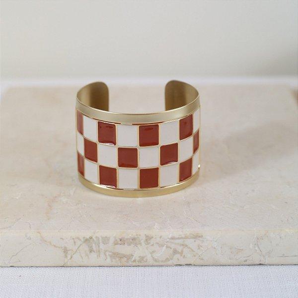 Bracelete Xadrez Color Nath - Marrom e Off