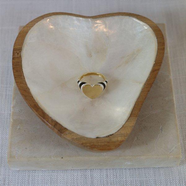 Anel Placa Coração Color Nath - Preto e Branco