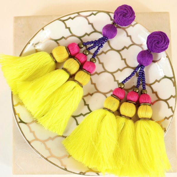 Brinco Pompom Colorido - Amarelo