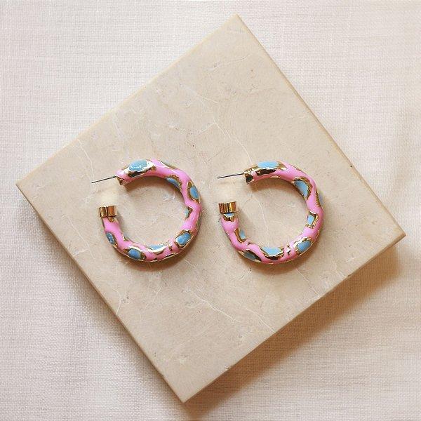 Argola Onça Color Nath - Pink e Azul