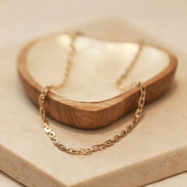 Colar Mini Elos Cravejado - Dourado