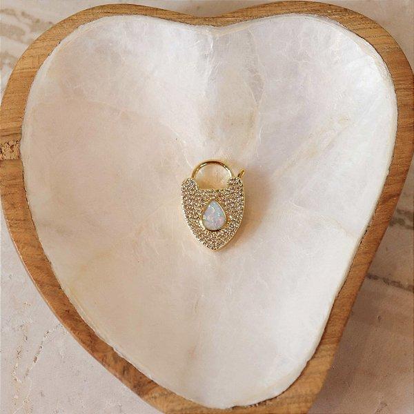 Pingente Coração Madre Pérola - Dourado
