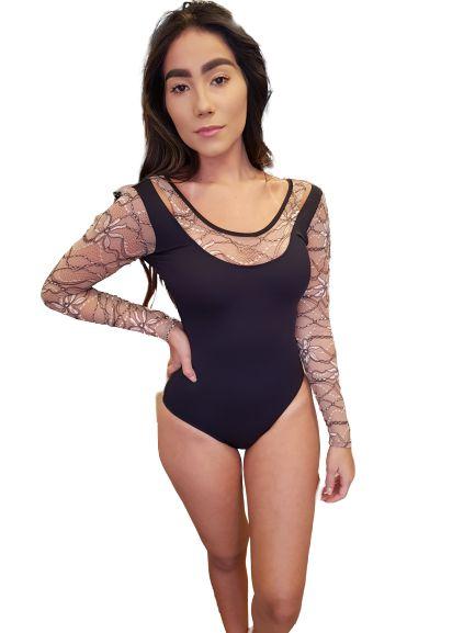 Body Manga Longa Nadador Renda Flor