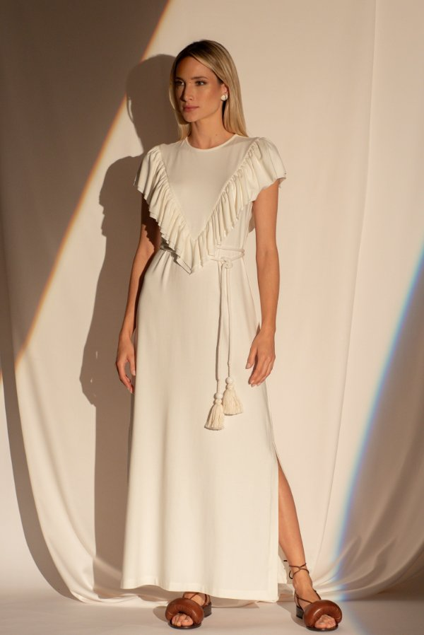 Vestido Bianca Babado - OFF WHITE