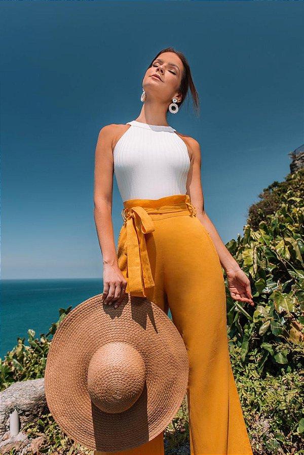 Calça Pantalona Miranda - MOSTARDA