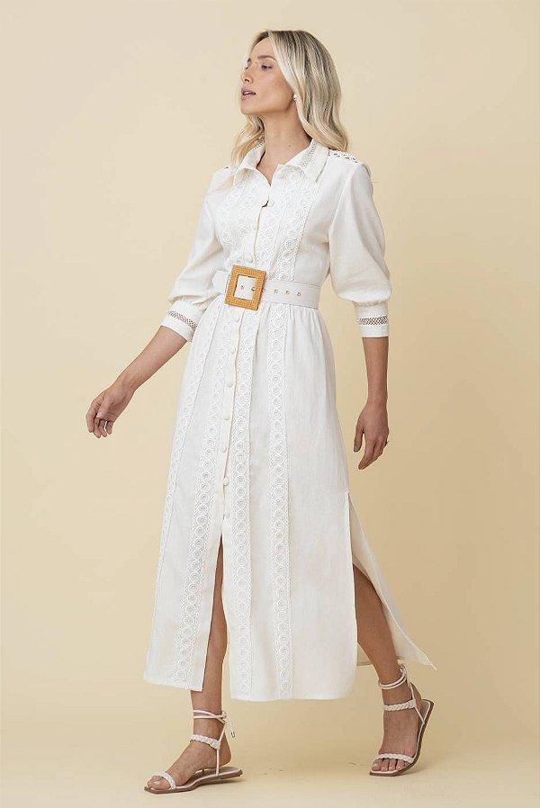 Vestido Midi De Linho Lívia - OFF WHITE