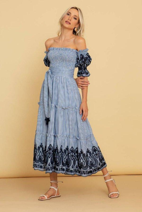 Vestido Midi Bordado Luna - AZUL MARINHO