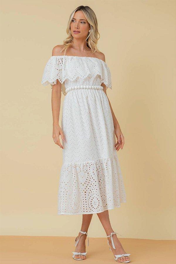 Vestido Midi de Laise Joana - OFF WHITE