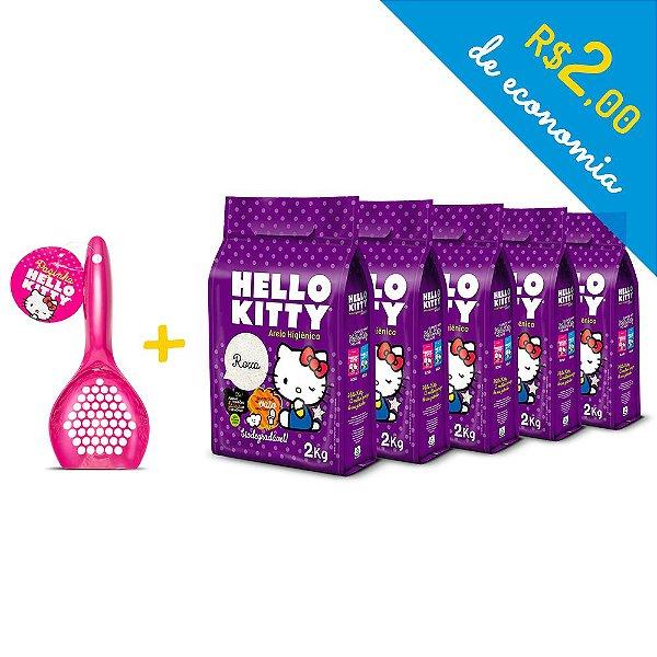 Kit Areia Higiênica Biodegradável Hello Kitty Roxa de 5 unidades com 10kg + Pá Higiênica Rosa