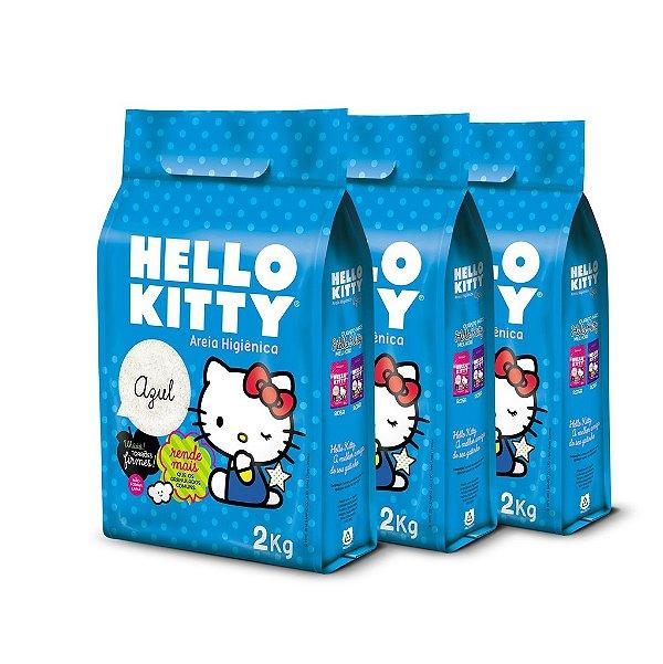 Areia Higiênica Hello Kitty Azul - Kit de 3 unidades com 6kg