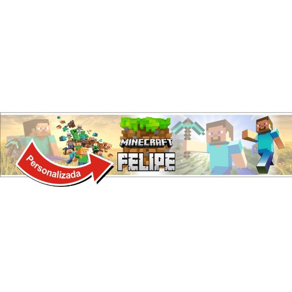 Faixa para Quarto Minecraft NOME PERSONALIZADO
