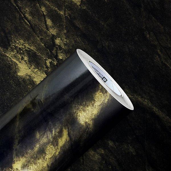 Adesivo Gold Pedras Mármore Golden Black Gloss (Largura 1,22m) - VENDA POR METRO