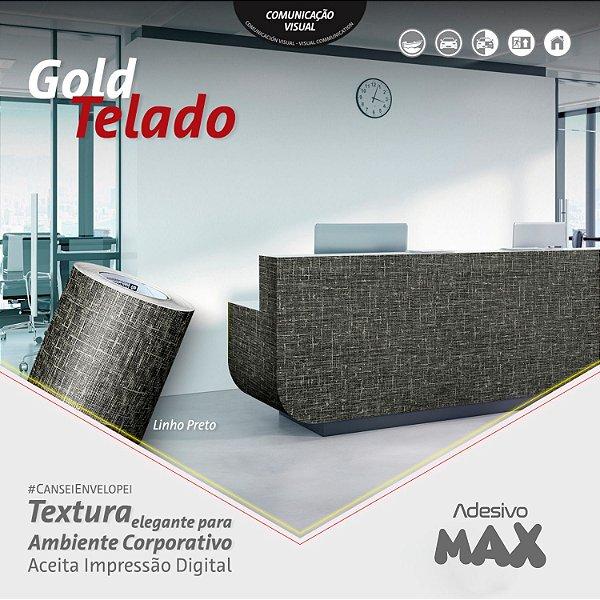 Adesivo Gold Telado Linho Preto (Largura 1,22m)