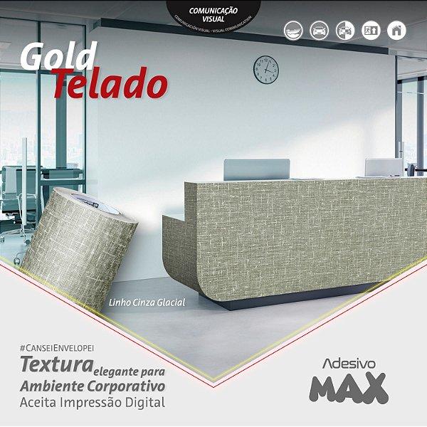 Adesivo Gold Telado Linho Cinza Glacial (Largura 1,22m)