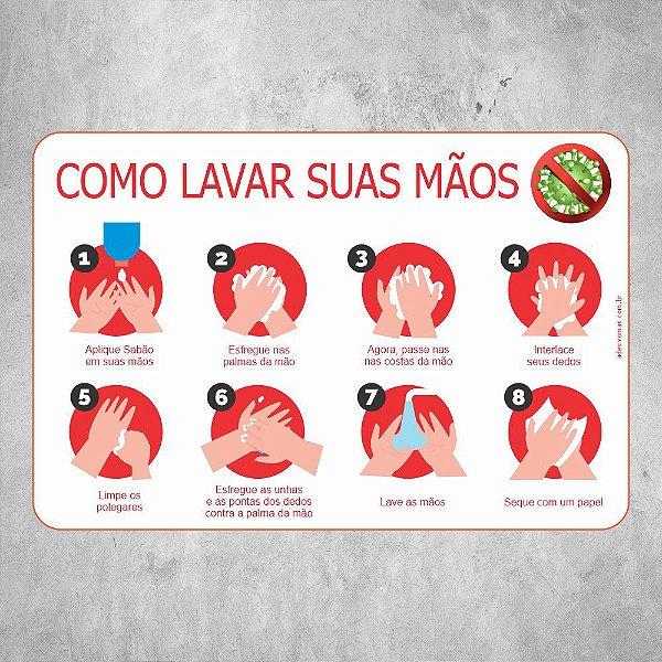 Adesivo Como Lavar as Mãos COVID19