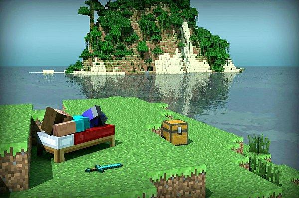 Adesivo de Parede - Minecraft Island