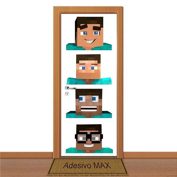 Adesivo de Porta - Faces de Minecraft