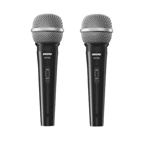 Kit 2 Microfone De Mão Com Fio Preto SV100 - SHURE