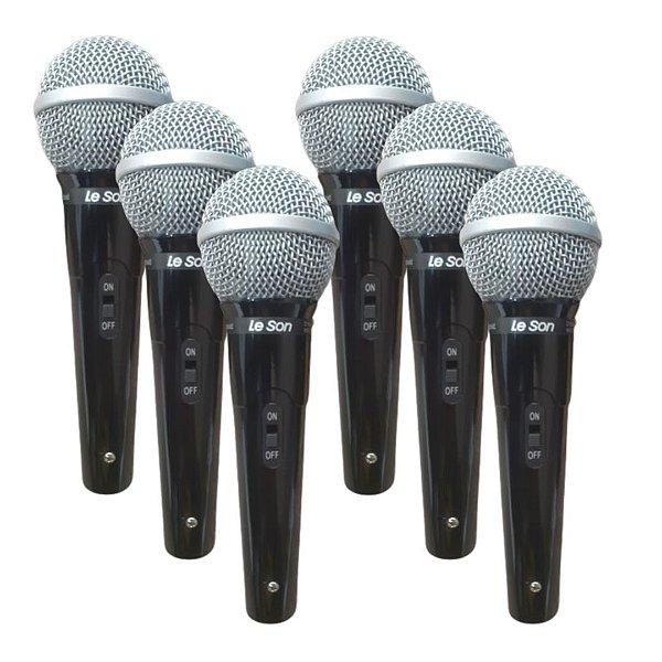 Kit 6 Microfone De Mao VK Vocal Cardioide SM-50 - LESON