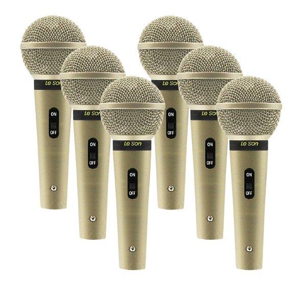Kit 6 Microfone Cardioide Com Fio Champanhe SM-58 - LESON