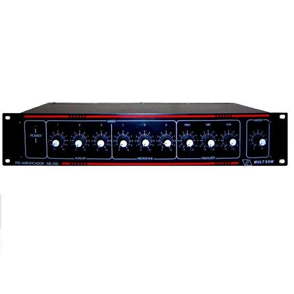 Pré Amplificador de Potência MS-250 Com Gongo - Multi Som
