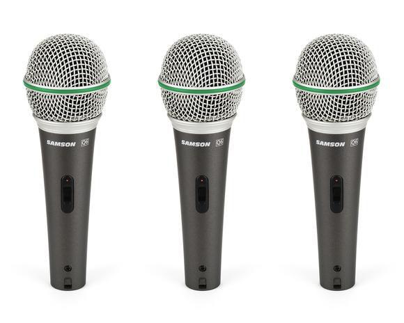 3 Microfones Dinâmico Q6 Super Cardióide Chave On/off - Samson