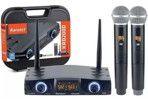 Microfone Sem Fio Duplo Mão KRD200DM - KARSECT