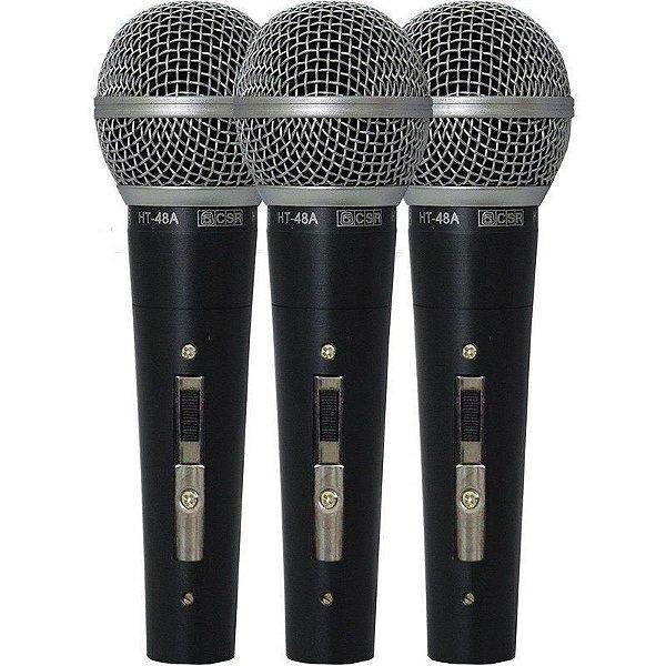 kit 3 Microfones Com Fio De Mão Dinâmico 48-3 - CSR