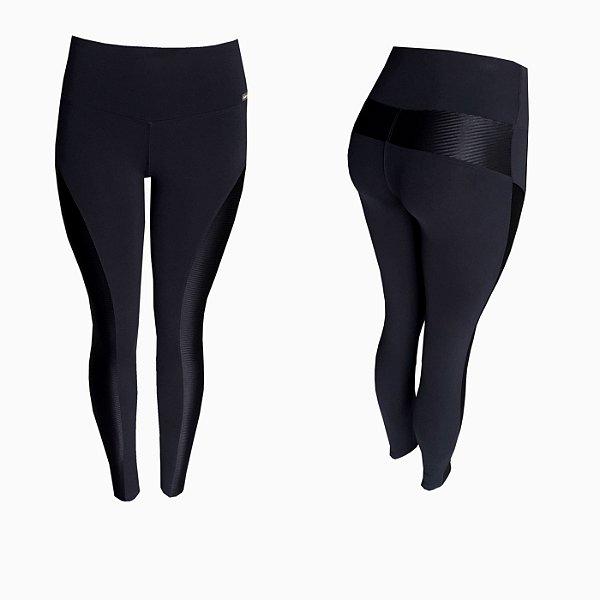 Calça legging Montaria com recorte lateral de cirre canelado
