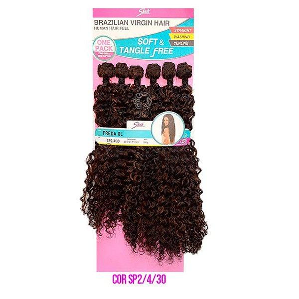 Cabelo Freda XL 260g cor SP2/4/30 , CASTANHO ESCURO MESCLADO COM CASTANHO CLARO E COBRE  - Brazilian Virgin Hair
