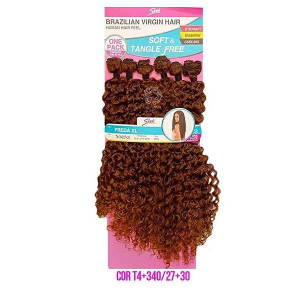 Cabelo Freda XL 260g cor T4+340/27+30 castanho mesclado com loiro mel - Brazilian Virgin Hair