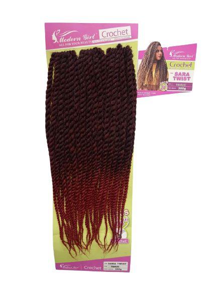 Twist Sara - Crochet ( cor T1B/Bug -Preto mesclado com vermelho)