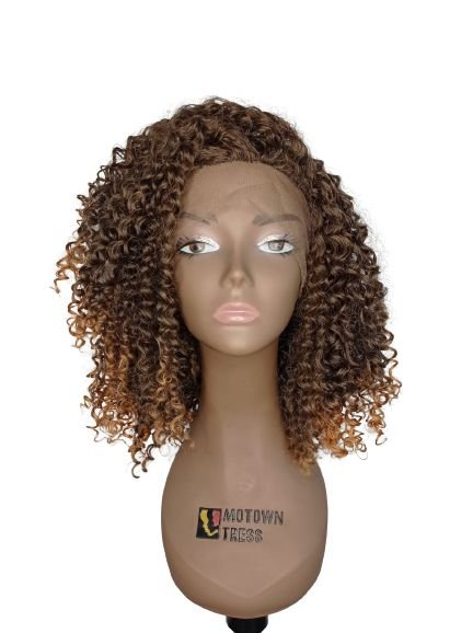 Peruca Front Lace YILIA ( cor  T1B/27 preto mesclado com loiro mel )-Morden Girl+ Touca Wig Cap