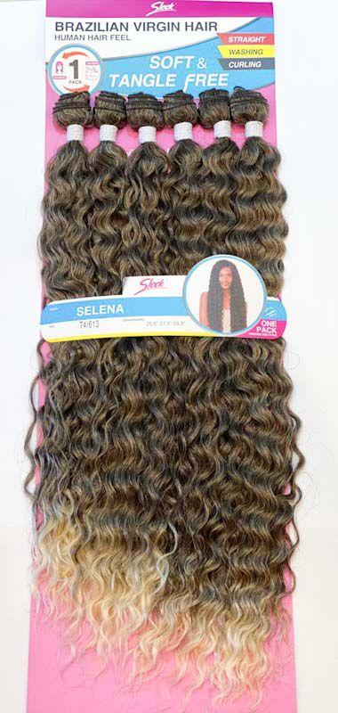 CABELO SELENA Brazilian Virgin Hair 260g ( COR T4/613 - CASTANHO + LOIRO)