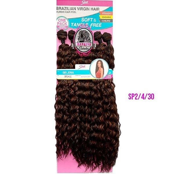 CABELO SELENA Brazilian Virgin Hair 260g ( COR SP2/4/30 - CASTANHO ESCURO + CASTANHO+ COBRE)