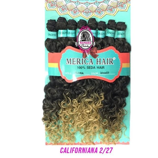 Cabelo Flora - Mérica Hair 280g  ( Cor Californiana2/27 - Castanho Escuro + Loiro Mel )